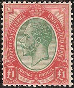 South Africa 1913-24 £1 green & red SG17