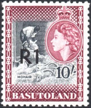Basutoland stamps 1961 R1 on 10s