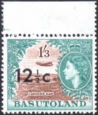 Basutoland 12½c on 1s3d stamp