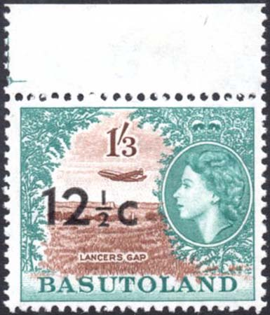 Basutoland 12½c on 1s3d stamp
