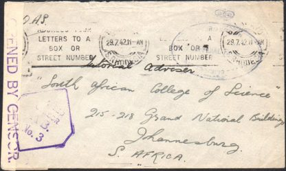 Southern Rhodesia 1942 censored cover