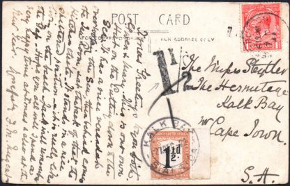South Africa 1½d roulette postage due