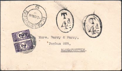 South Africa 1944 Postage due cover