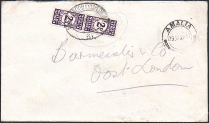 South Africa 2d bantam postage due on cover