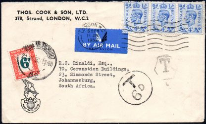 1952 airmail cover, taxed 6d