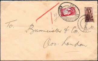 South Africa 1d bantam used as postage due