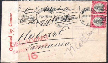 1940 censored cover to Tasmania