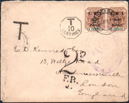 Boer War taxed & censored cover to UK