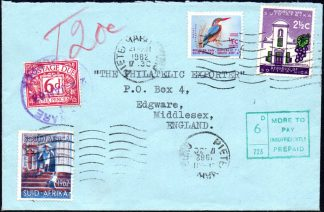 South Africa 1962 Christmas label on cover
