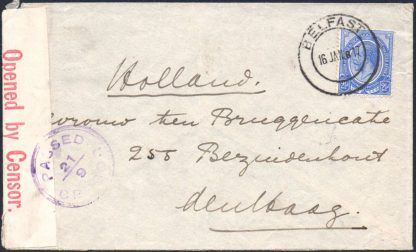 South Africa 1917 censored cover