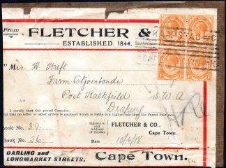 South Africa 1918 parcel label