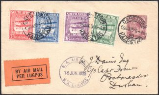 South Africa 1925 Airmail set on cover