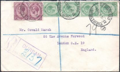 South Africa ½d coil strip of 4