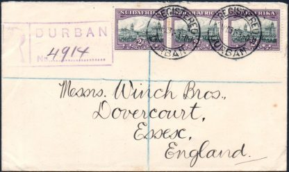1931 Durban registered cover
