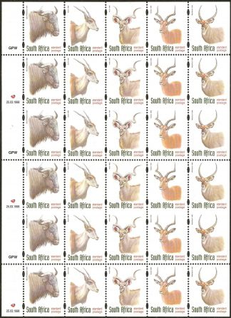 South Africa 1998 Antelopes, uncut booklet panes
