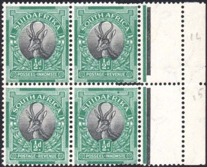 South Africa 1927 ½d double perfs