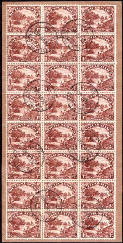 South Africa 1930-44 4d brown used on piece