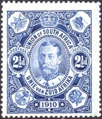 South Africa 1910 2½d variety