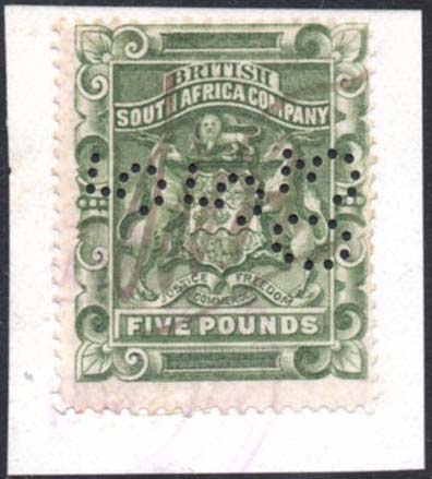 1892-3 £5 green fiscally used