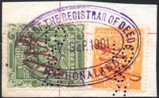 Rhodesia 1892-3 £5 5s fiscally used