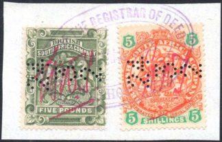 Rhodesia 1892-3 £5 5s fiscal use