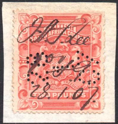 Rhodesia 1897 £2 perf 15