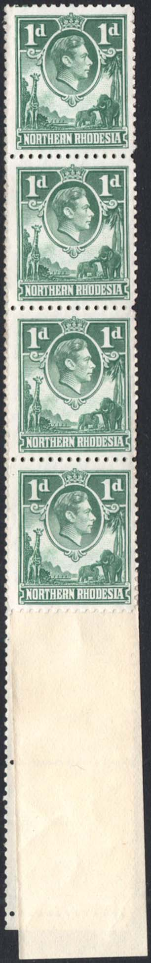 Northern Rhodesia 1938-52 1d coil strip