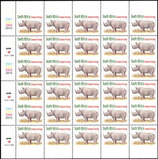1998 Rhino uncut booklet panes SG 1029a