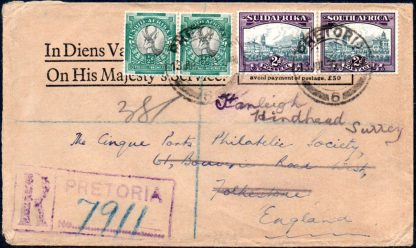 1936 registered official cover