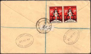 South Africa 1937 Christmas labels on cover