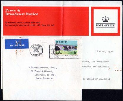 Rhodesia 1970 UDI untaxed cover