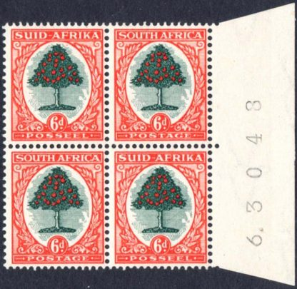 1947-54 6d issue 5 sheet number block