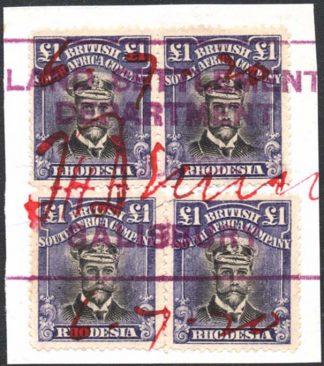 Rhodesia £1 Admiral SG 255t