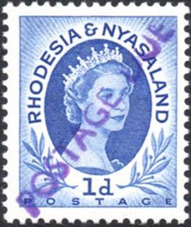 Rhodesia & Nyasaland 1959 handstamp postage due