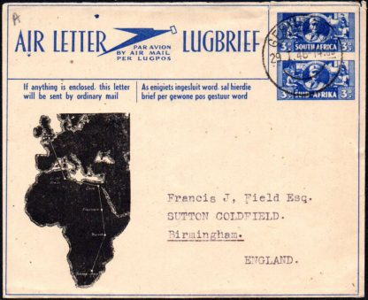 South Africa 1946 first acceptance of air letters