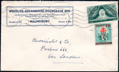 South Africa 1949 Christmas label on cover
