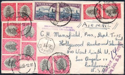 South Africa 1950 multiple franked cover to USA