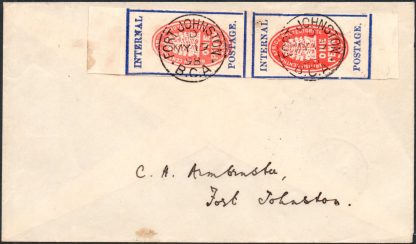 BCA 1898 imperf cheque stamp on cover