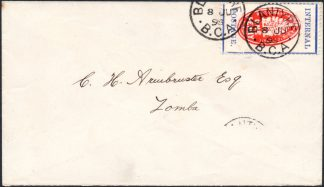 BCA 1898 1d cheque stamp used on cover