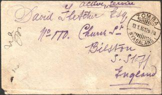 Nyasaland 1916 Active service cover