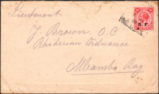 Nyasaland Rhodesian Force 1d on cover