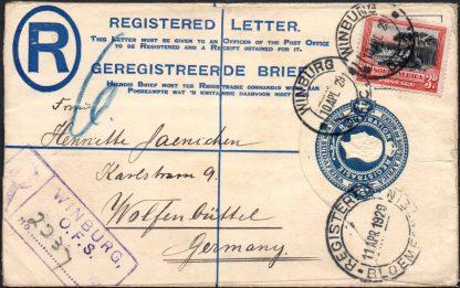 South Africa 1929 registered envelope