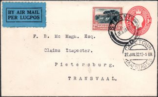 South Africa 1932 uprated airmailed postal stationery
