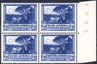 South Africa 1947-54 3d deep blue sheet number block