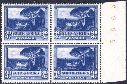South Africa 1947-54 3d deep blue sheet number block