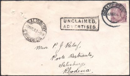 Southern Rhodesia 1925 UNCLAIMED cover