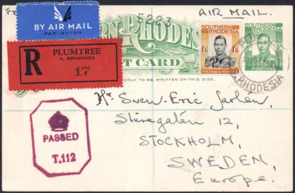 Southern Rhodesia 1945 registered postcard
