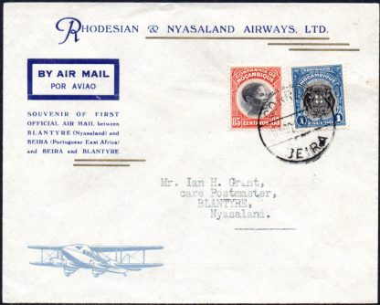 Nyasaland 1935 First Flight Beira to Blantyre