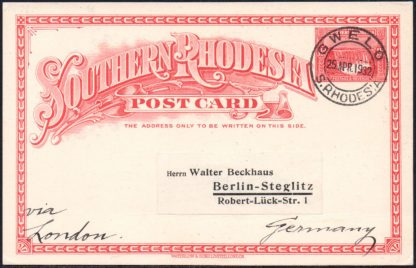 Southern Rhodesia 1931 1½d postal stationery postcard