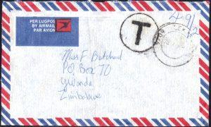 Zimbabwe 1983 postage due cover